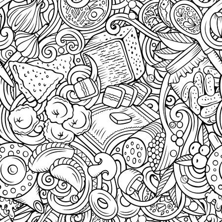 Cartoon cute doodles hand drawn Russian food seamless pattern