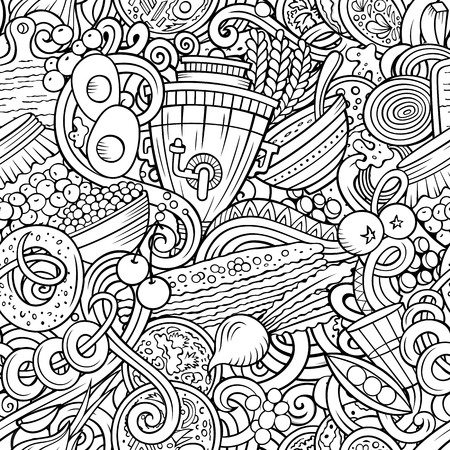 Cartoon cute doodles hand drawn Russian food seamless pattern. Line art detailed, with lots of objects background. Endless funny vector illustration. All objects separate. Ilustração