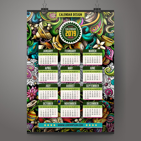 Cartoon colorful hand drawn doodles India 2019 year calendar template. Illustration