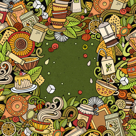 Cartoon vector doodles Tea time frame. Colorful, detailed, with lots of objects background. All objects separate. Bright colors cafe funny border Illustration