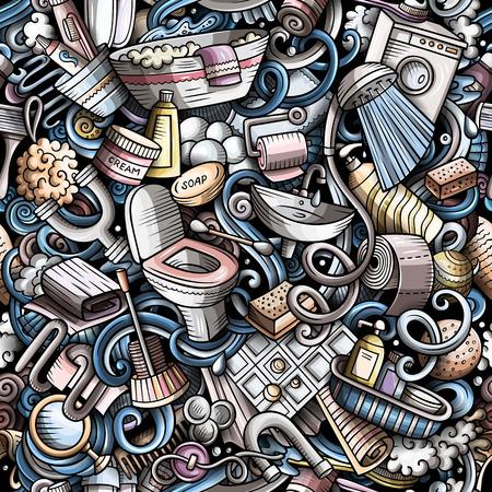 Bathroom hand drawn cartoon doodles seamless pattern. Stok Fotoğraf - 112742062