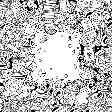 Cartoon vector doodles Tea time frame. detailed, with lots of objects background Reklamní fotografie
