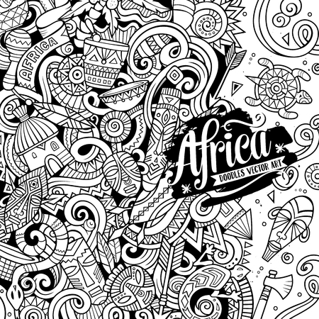 Cartoon cute doodles Africa word. Sketchy illustration  イラスト・ベクター素材