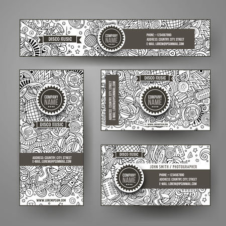 Corporate Identity vector templates set design with doodles hand drawn Disco music theme. Line art banner, id cards, flayer design. Templates set Stock Vector - 127263476