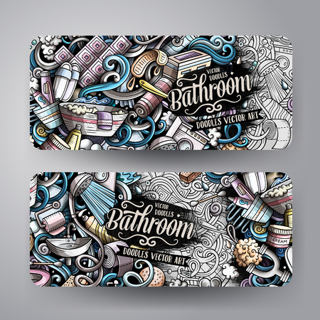 Bathroom hand drawn doodle banners set. Cartoon detailed flyers. Bath identity with objects and symbols. Color vector design elements illustration