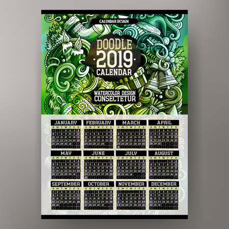 Cartoon colorful hand drawn doodles Merry Christmas 2019 year calendar template. English, Sunday start. Very detailed, with lots of objects illustration. Funny vector artwork. Stok Fotoğraf - 127263486