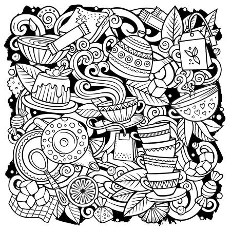 Vector de dibujos animados garabatos Ilustración de té. Esbozado, detallado, con muchos objetos de fondo. Todos los objetos se separan. Imagen divertida de Line art Cafe