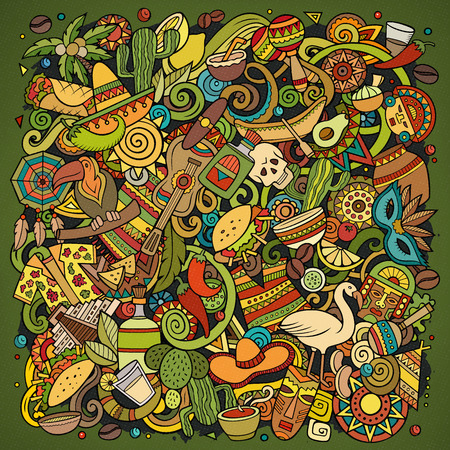 Cartoon vector doodles Latin America illustration. Colorful, detailed, with lots of objects background. All objects separate. Bright colors latinamerican funny picture Standard-Bild - 127263489