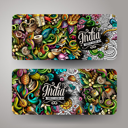 India hand drawn doodle banners set. Cartoon detailed flyers.