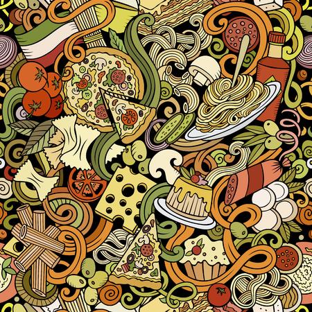 Cartoon cute doodles hand drawn Italian Food seamless pattern Illustration