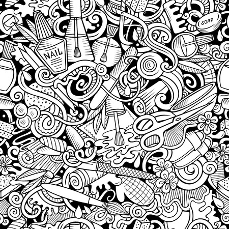 Manicure hand drawn doodles seamless pattern. Nails art background Banque d'images - 115329484
