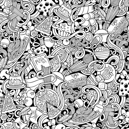 Cartoon cute doodles hand drawn Italian Food seamless pattern. Sketchy detailed, with lots of objects background. Endless funny vector illustration. All objects separate.