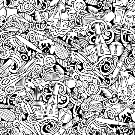 Manicure hand drawn doodles seamless pattern. Nails art background. Cartoon cosmetic fabric print design. Sketchy vector illustration. All objects are separate.