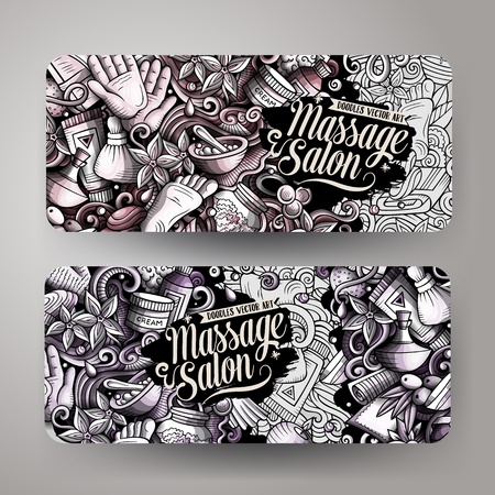 Massage hand drawn doodle banners set. Cartoon detailed flyers. Spa center identity with objects and symbols. Toned vector design elements illustration
