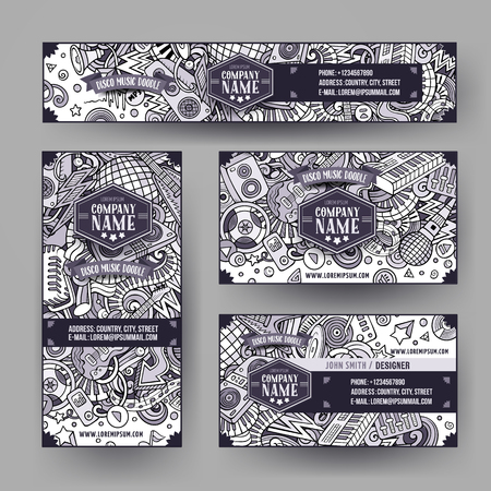 Corporate Identity vector templates set design with doodles hand drawn Disco music theme. Line art banner, id cards, flayer design. Templates set