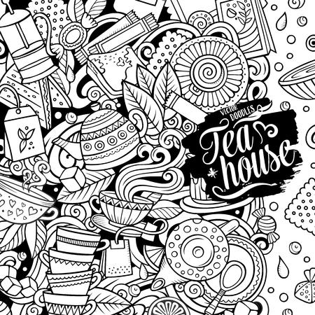 Cartoon-Vektor-Doodles Tee-Zeitrahmen. Strichzeichnungen, detailliert, mit vielen Objekten im Hintergrund. Alle Objekte trennen sich. Sketchy Café lustige Grenze