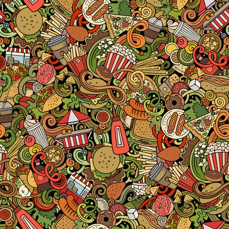 Fastfood hand drawn doodles seamless pattern. Fast food background Reklamní fotografie