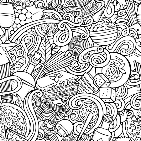 Cartoon cute doodles hand drawn Italian Food seamless pattern. Sketchy detailed, with lots of objects background. Endless funny vector illustration. All objects separate. Stock Vector - 126951131