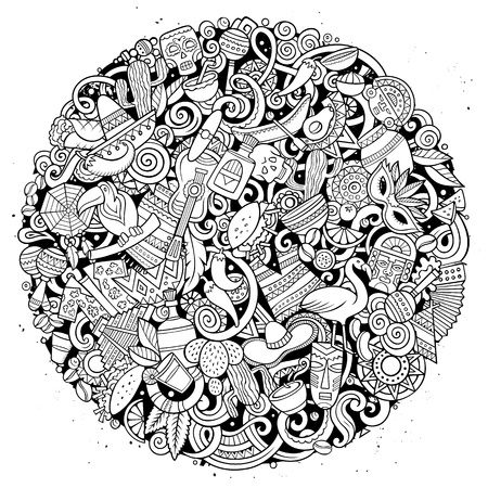 Cartoon vector sketchy doodles Latin America illustration Ilustrace