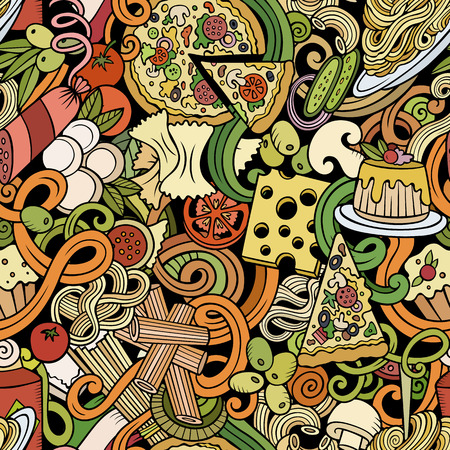 Cartoon cute doodles hand drawn Italian Food seamless pattern 向量圖像