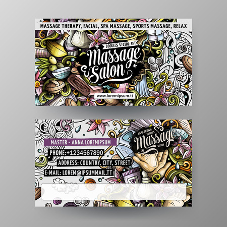Cartoon cute vector hand drawn doodles Massage salon corporate identity. 2 identity cards template design