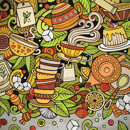 Cartoon vector doodles Tea time frame. Colorful, detailed, with lots of objects background. All objects separate. Bright colors cafe funny border Ilustrace