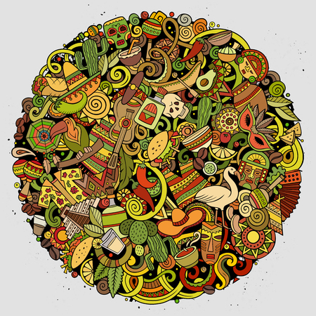 Cartoon vector doodles Latin America round illustration. Colorful, detailed, with lots of objects background. All objects separate. Bright colors latinamerican funny picture Standard-Bild - 126954002