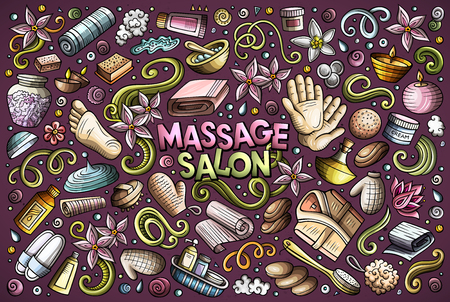 Vector hand drawn doodle cartoon set of Massage and Spa objects and symbols Illustration