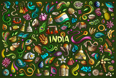 Vector doodle cartoon set of Indian objects and symbols Illustration