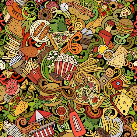 Fastfood hand drawn doodles seamless pattern. Fast food background Ilustrace