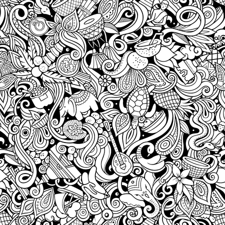 India culture hand drawn doodles seamless pattern. Indian background Illustration