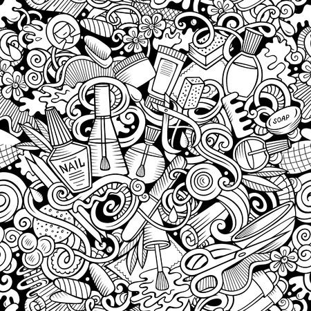 Modèle sans couture de griffonnages dessinés à la main de manucure. Fond d'art des ongles. Conception d'impression de tissu cosmétique de dessin animé. Illustration vectorielle sommaire. Tous les objets sont séparés.