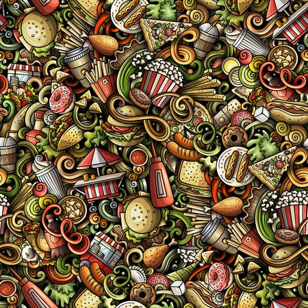 Garabatos dibujados a mano de comida rápida de patrones sin fisuras. Fondo de comida rápida. Diseño de impresión de tela de dibujos animados. Ilustración de vector colorido. Todos los objetos están separados.