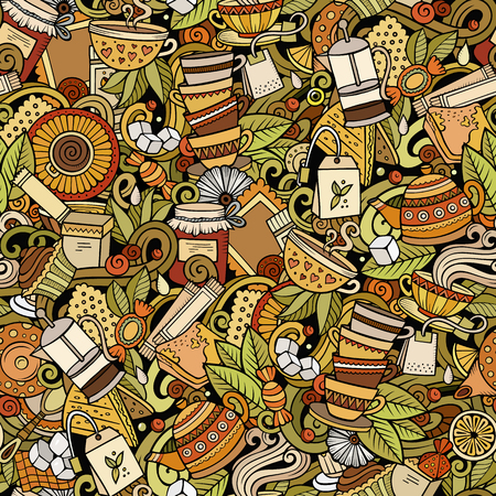Cartoon cute doodles hand drawn Tea House seamless pattern. Colorful detailed, with lots of objects background. Endless funny vector illustration. All objects separate.