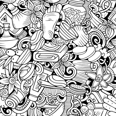 Massage hand drawn doodles seamless pattern. Spa therapy background. Cartoon relax fabric print design. Line art vector illustration. All objects are separate.