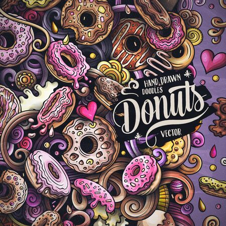 Donuts hand drawn vector doodles illustration. Sweets frame card design. Doughnut elements and objects cartoon background. Bright colors funny border. All items are separated