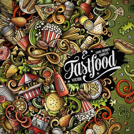 Fastfood hand drawn vector doodles illustration. Fast food frame card design Stock Illustratie