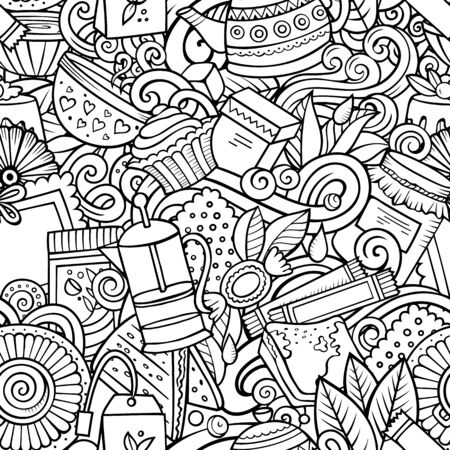 Cartoon cute doodles hand drawn Tea House seamless pattern. Line art detailed, with lots of objects background. Endless funny vector illustration. All objects separate. Ilustrace