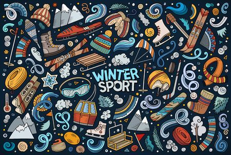 Colorful vector hand drawn doodle cartoon set of Winter sports objects and symbols