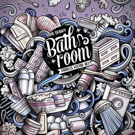 Bathroom hand drawn vector doodles illustration. Bath room frame card design.