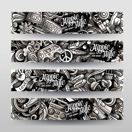 Hippie hand drawn doodle banners set. Cartoon detailed flyers. Hippy identity with objects and symbols. Toned vector design elements illustration