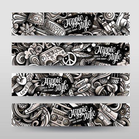 Hippie handgezeichnete Doodle-Banner-Set. Cartoon detaillierte Flyer. Hippie-Identität mit Objekten und Symbolen. Getönte Vektor-Design-Elemente-Illustration Vektorgrafik