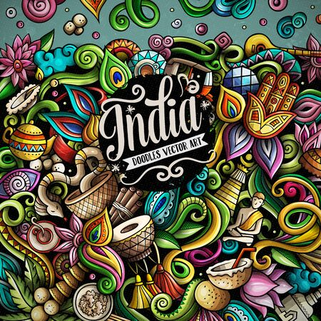 India hand drawn vector doodles illustration. Indian frame card design.