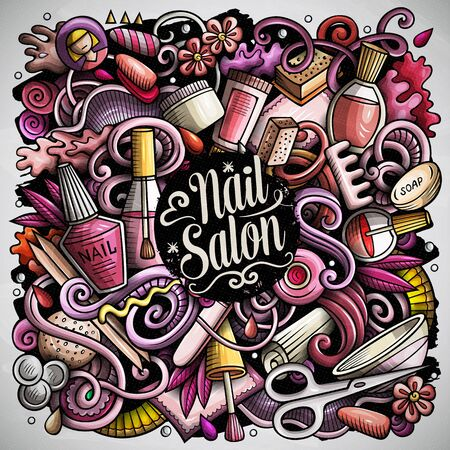 Nail Salon hand drawn vector doodles illustration. Manicure poster design. Beauty elements and objects cartoon background. Bright colors funny picture. All items are separated Ilustração