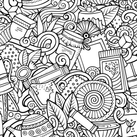 Cartoon cute doodles hand drawn Tea House seamless pattern. Line art detailed, with lots of objects background. Endless funny vector illustration. All objects separate. Illustration