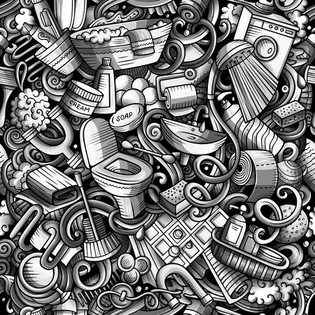 Bathroom hand drawn doodles seamless pattern. WC background. Cartoon fabric print design. Monochrome vector illustration. All objects are separate. Ilustração