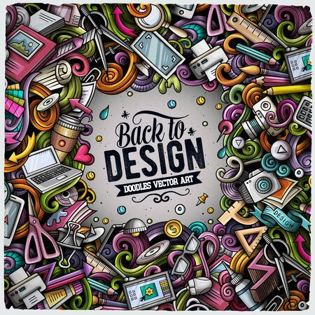 Cartoon vector doodles Design card. Colorful detailed, with lots of objects illustration. All items are separate. Artistic funny border. Illustration