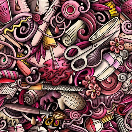 Modèle sans couture de griffonnages dessinés à la main de manucure. Fond d'art des ongles. Conception d'impression de tissu cosmétique de dessin animé. Illustration vectorielle colorée. Tous les objets sont séparés.