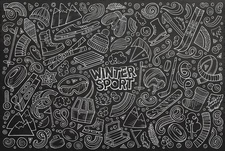 doodle cartoon set of Winter sports objects and symbols