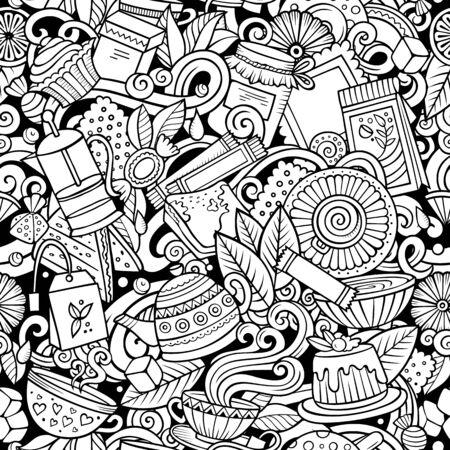 ●漫画かわいい落書き手描きティーハウスシームレスパターン。背景に多くのオブジェクトを持つ詳細なラインアート。無限の面白いベクトルイラ
